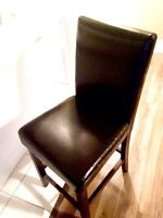 Black leather IKEA chairs