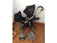 Icandy double / single pushchair with rain covers
