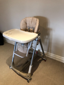 Adjustable High Chair with Wheels and Removable Tray