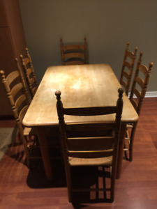 butcher  block table and 6 ladder back chairs