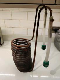 Homebrew copper coil immersion wort chiller