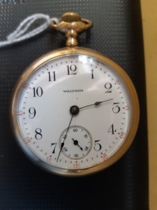 ANTIQUE GOLD FILLED POCKET WATCH WALTHAM -15 JEWELS-125$