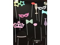 20 piece photo booth selfie props on a stick