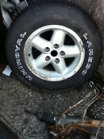 P215/75R15 M+S 15inch tires and rims all season 2 pieces as is