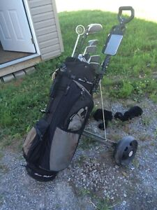 Golf club set, golf bag and cart