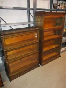 EARLY 1900 STACKING OAK BOOKCASES FROM ESTATE