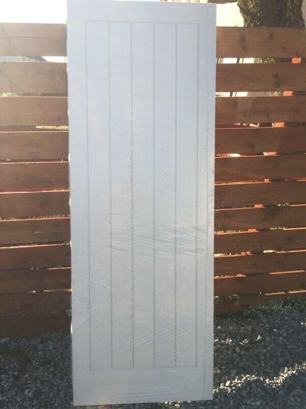 Vertical White Primed 5 Panel Grained Interior Door 78x28
