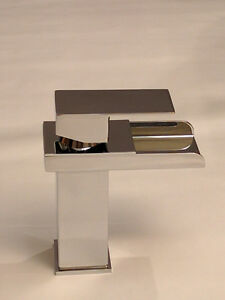 Deck Mounted CHROME BRASS WATERFALL Bathroom Basin Faucet - NEW