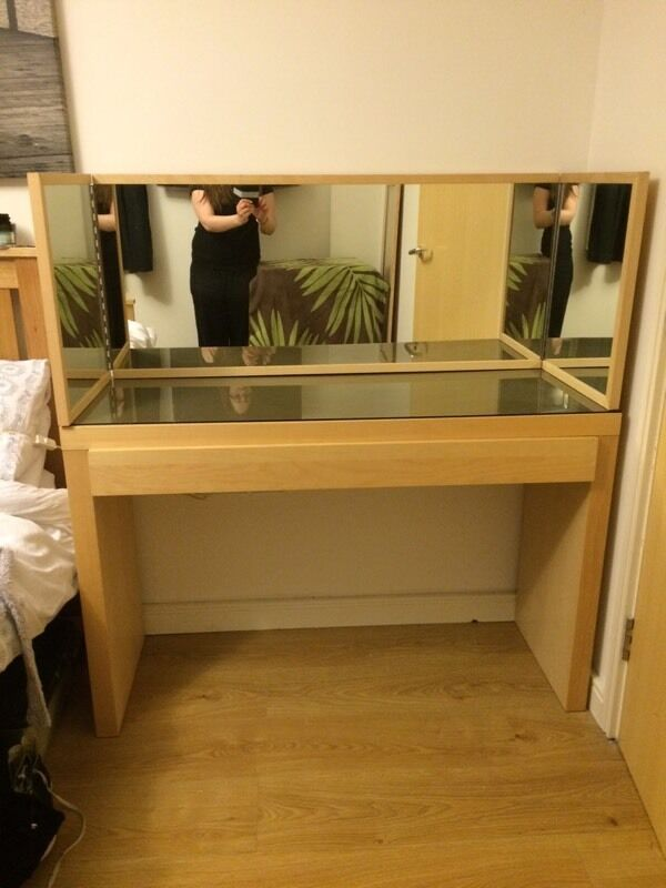 IKEA Malm glass top dressing table and mirror. IKEA Malm glass top dressing table and mirror   in Ipswich