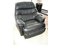 Black leather reclining swivel/rocker chair with footrest