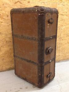 Antique Indestructo Steamer Trunk / Wardrobe - Repurpose Reuse