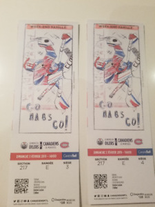 EDMONTON OILERS VS CANADIENS  3 Fevrier  14h00  2 billets
