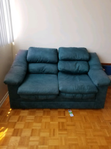 couch and loveseat, green,  for sale