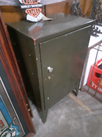 1940s vintage storr metal industrial locking cabinet