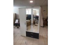 White & Metalic Grey 3 Door Wardrobe With 2 Mirrored doors & 2 drawers