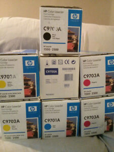 7 New Genuine HP C9700A, C9701A, C9702A, C9703A Toner Cartridges