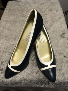 Navy With White Trim Pumps