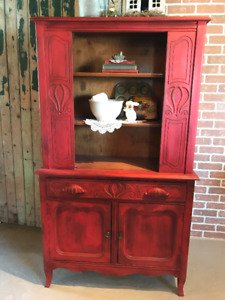 Beautiful Antique Scarlet Red Cabinet
