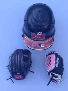 Rawlings baseball helmet and gloves