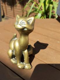 Novelty Vintage Brass Cat Pen Stand Desk Ornament