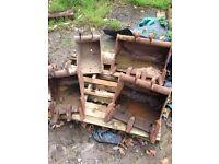 Set of mini digger buckets