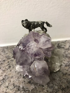 Pewter wolf on amethyst statue