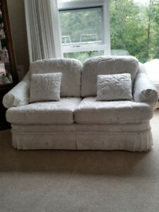 2 White Quilted Love Seats custom made