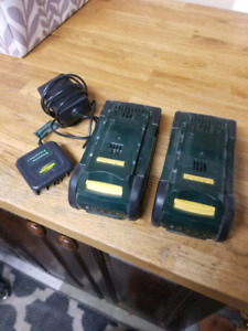 2 36v yardworks lawnmower batteries w charger