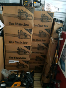 Lot of chainsaws and weed trimmer