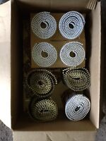Several rolls of coil framing nails