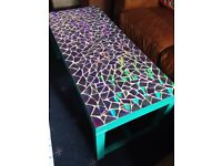 Beautiful holographic mosaic table