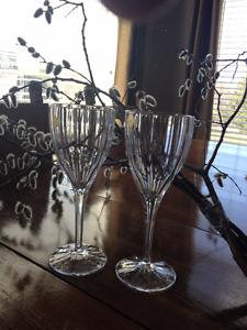 GORGEOUS 24 full led   2  CRYSTAL wine glasses    $30.00