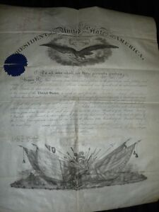 Abraham Lincoln Signed 1864 US Civil War Commission Document