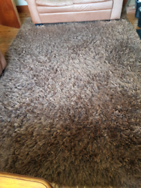 Large shaggy brown living room rug