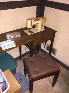 Antique Sewing Machine with cabinet and stool. Moving Need Gone