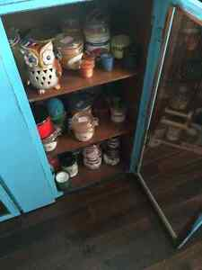 Display cupboard, painted a cool blue and distressed.... London Ontario image 3
