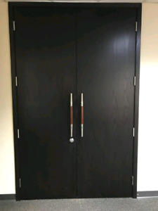 "OBO-Commercial grade solid wood double doors each door 32"" wide"