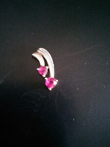 10K Yellow Gold Ruby & Diamond Double Heart Pendant