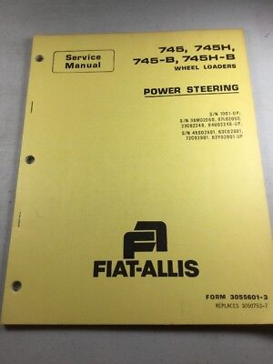 Allis Chalmers 745 745h 745-b 745h-b Loaders Power Steering Service Manual