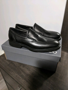 Mens Ecco black leather dress Venetian loafers size 44 (size 10)
