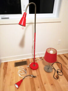 Lampe rouge sur pied, de table ou avec pince à éclairage DEL
