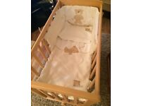 Mamas and papas glider crib and Moses basket and stand complete with bedding
