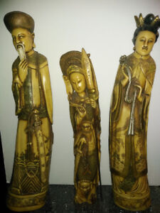 19TH C CHINESE CARVED Statues