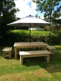 Chunky Garden Table & 2 Benches