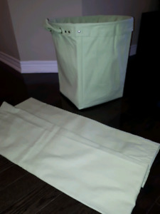 Large canvas storage bucket with 2 matching curtain panels