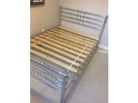 Silver Metal Double Bed and Mattress
