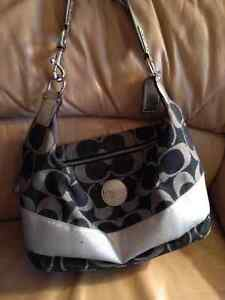 Authentic Blue and Silver Coach Purse