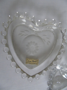 HEART SHAPED GLASS PAIR CORNFLOWER CANDY DISHES