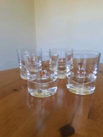 Four Dartington heavyweight crystal whisky glasses