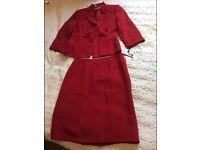 Tahari Arthur S. Levine Red Skirt Suit Size: 10US- 14uk